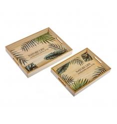 Set bandejas de madera hoja 40cm.