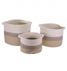 Set 3 cestos de tela 32,28 y 24cm. diametro