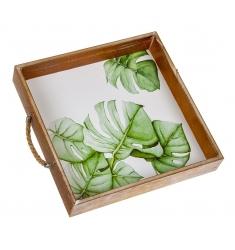 Bandeja de madera cuadrada hojas