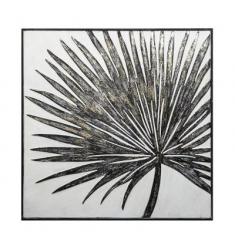 Cuadro madera metal hojas 63x63cm