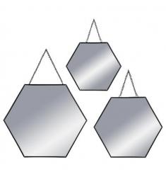 Set 3 espejos cadena de metal negro  29-24-20cm