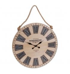 Reloj pared madera redondo 50cm.