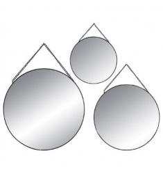 Set 3 espejos redondos cadena metal neg 29-24-20cm