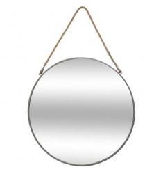 Espejo redondo de metal cuerda d55 gris