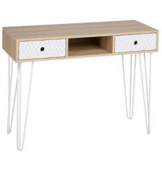 Consola 2 cajones madera-metal L100x38x76