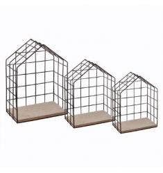 Set 3 estanterias madera metal 34-27-20cm