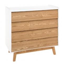 Comoda madera blanco y natural 4 cajones 85x40x80