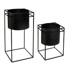 Set 2 macetas con soporte metalico 40x18 y 25x16cm