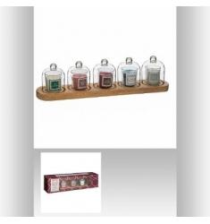 Set 5 velas aromaticas con campana cristal 42x12cm