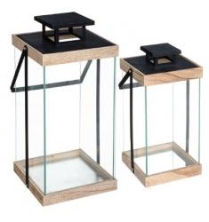 Set 2 faroles en metal y madera 47x21 y 36x17cm