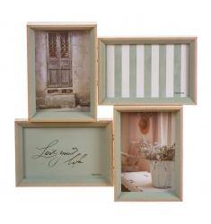 Portafotos multiple 4 10x15 madera