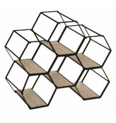 Botellero hexag L.29 x l. 15x A.25 cm metal-madera