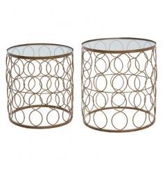 Set 2 mesas de metal y cristal doradas 35x37h - 40
