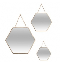 Set 3 espejos hexagonales ORO metal 29-24-20cm