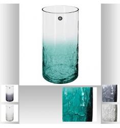 Florero cilíndrico de vidrio craqueado Alto 30cm