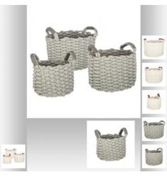 Conjunto de 3 cestas redondas de punto 29-24-21cm