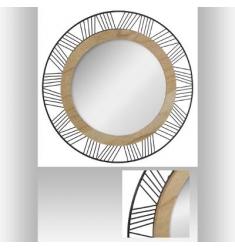 Espejo redondo de metal y madera 45cm