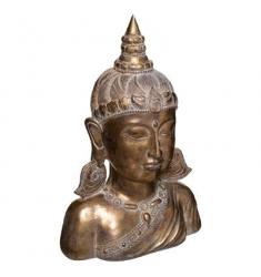 Cabeza de diosa de la resina dorada H 36cm