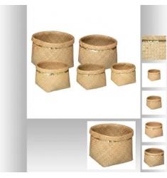 5 cestas en mimbre y lentejuelas 39-36-30-26-23cm