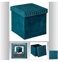 Puf con tapa en terciopelo azul 38x38cm
