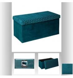 Banco con tapa en terciopelo azul 76x38cm