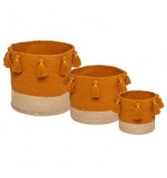 Set 3 cestos mimbre-tela ROJO ó NARANJA 27-22-16cm