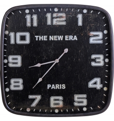 Reloj pared madera cuadrado 71cm. NEGRO