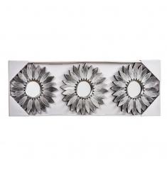 Set 3 espejos FLOR plata 78cm.