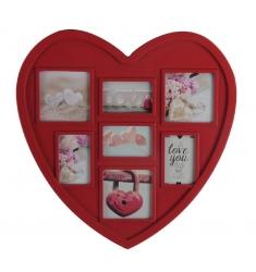 Portafoto múltiple 7 rojo corazón