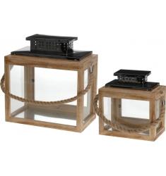 Set 2 faroles de madera23x34 y 31x35