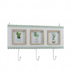 Portafoto-percha multiple cactus-madera