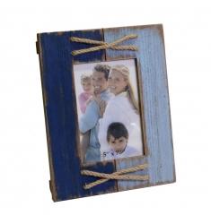 Portafoto cuerda madera envejecido 13x18cm