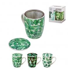 Taza infusion con filtro y tapa hojas 300 ml .