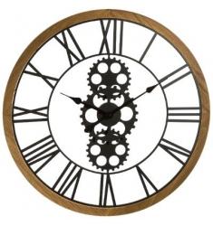 Reloj metal y madera d 70cm  negro