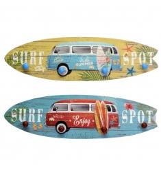 Percha de madera tabla surf 56x15cm.