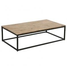 Mesa centro metal tapa madera L115x65xH32