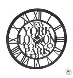 Reloj de pared metal ciudades d60  negro