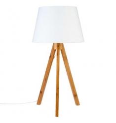 Lámpara sobremesa blanca  h55  poliester-madera