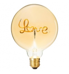 Bombilla decorativa LOVE 17x13cm diametro. Ambar