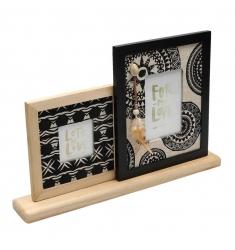 Portafoto étnico en madera 2 fotos