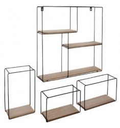 Set de 4 estantes de pared metálicos cuadrados