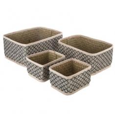 Set 4 cestas de mimbre rectangulares