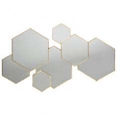 Espejo multi HEXAGONAL 61x37  ORO