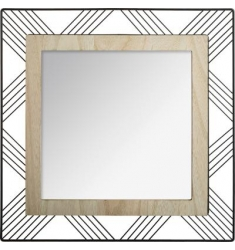 Espejo CUADRADO de metal y madera 45cm
