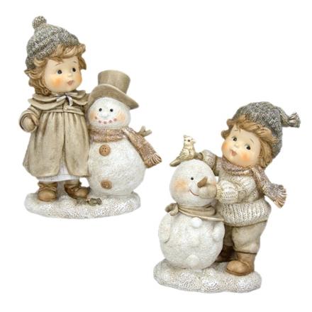 Figuras de niños con muñeco de nieve