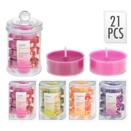 Tarro hermético cristal con 21 velas perfumadas