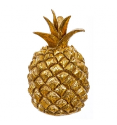 Piña resina 16cm. dorada
