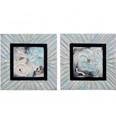 Set de 2 cuadros 40x40 pintados a mano