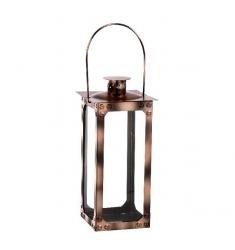 Farol madera,metal y cristal 33cm.