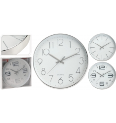 Reloj de pared 30cm. plata